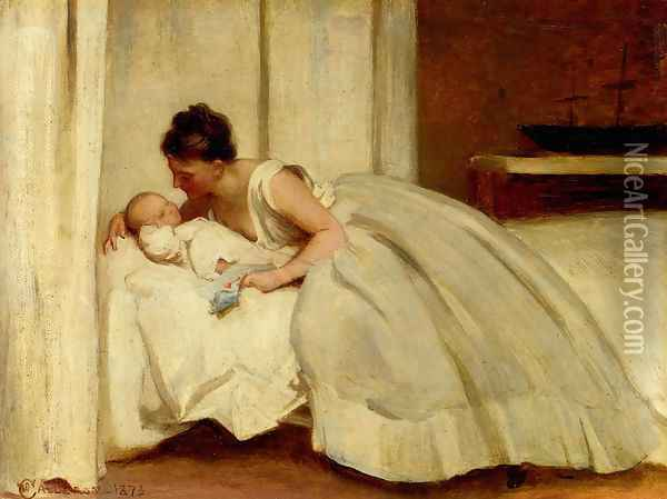 'Letter from Daddy' Oil Painting - Philip Hermogenes Calderon