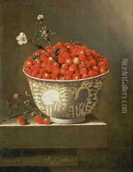 Still Life with Wild Strawberries in a Chinese Bowl Oil Painting - Adriaen Coorte