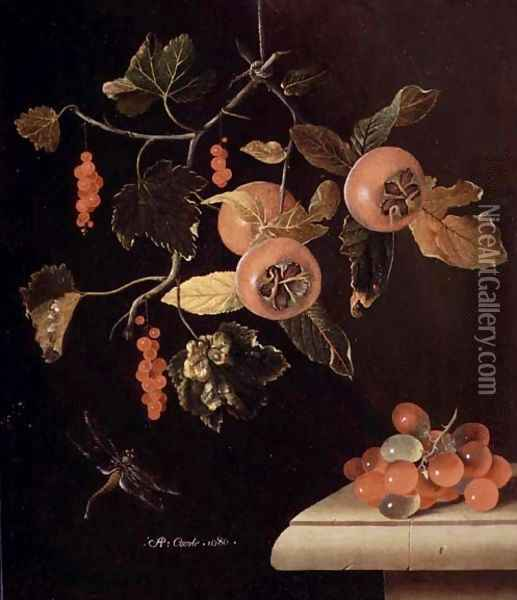 Still Life of Medlars, Redcurrants, Grapes and a Dragonfly, 1686 Oil Painting - Adriaen Coorte