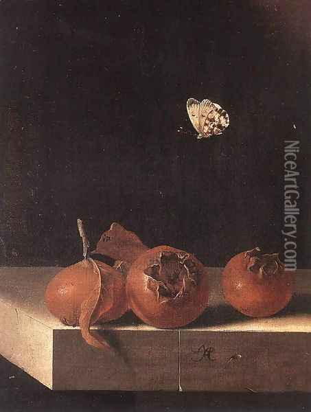 Three Medlars with a Butterfly c. 1705 Oil Painting - Adriaen Coorte