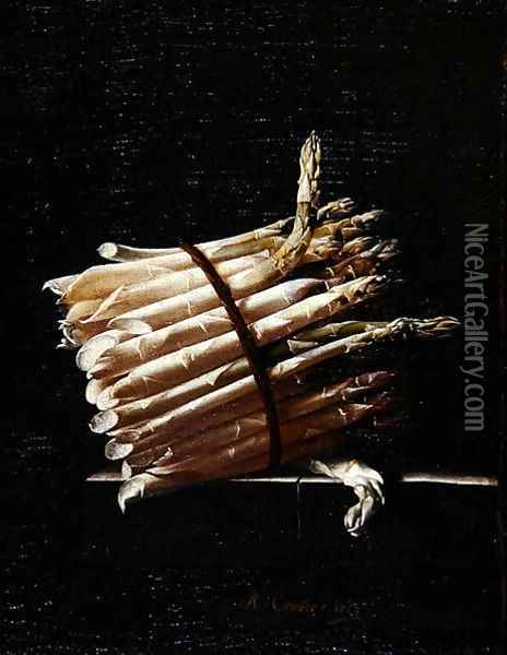 Bunch of Asparagus, 1703 Oil Painting - Adriaen Coorte