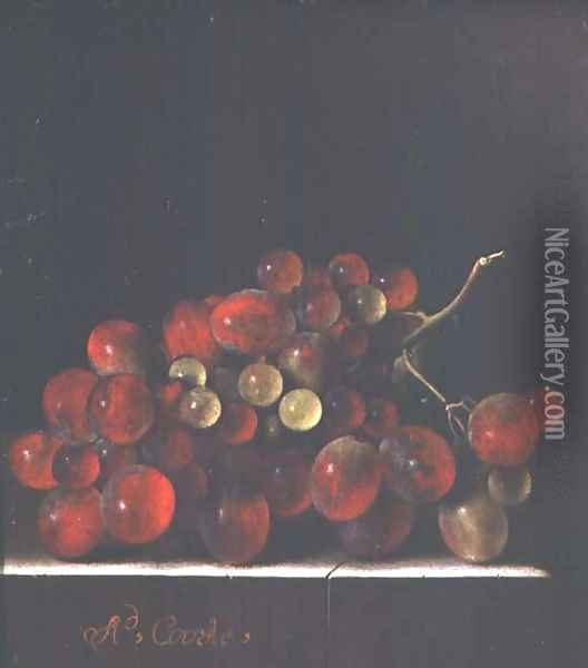 Still Life with Grapes Oil Painting - Adriaen Coorte