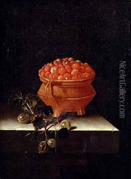 Strawberries and Gooseberries on a stone ledge Oil Painting - Adriaen Coorte