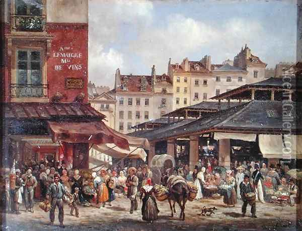 View of the Market at Les Halles, c. 1828 Oil Painting - Guiseppe Canella