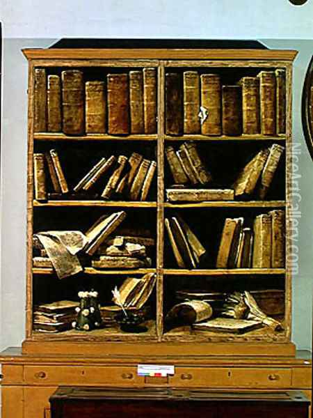 Trompe l'Oeil of a Bookcase, 1710-20 Oil Painting - Giuseppe Maria Crespi