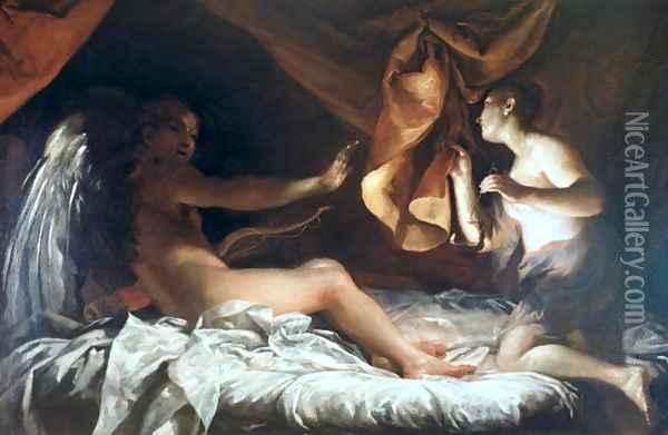 Psyche Discovers Cupid, 1707-09 Oil Painting - Giuseppe Maria Crespi