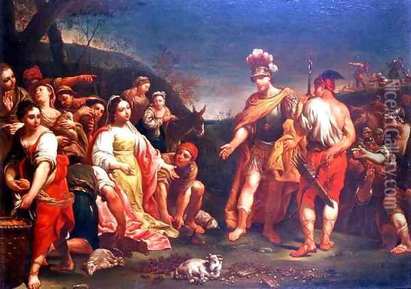The Offering of Abigail before David Oil Painting - Giuseppe Maria Crespi