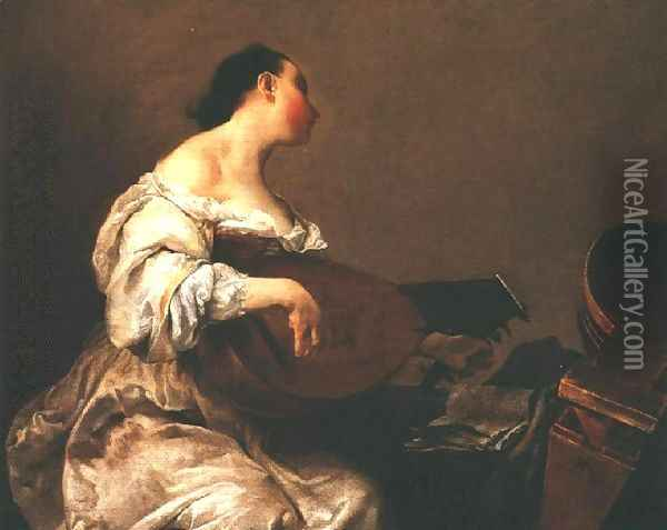 Woman Playing a Lute, 1700-05 Oil Painting - Giuseppe Maria Crespi