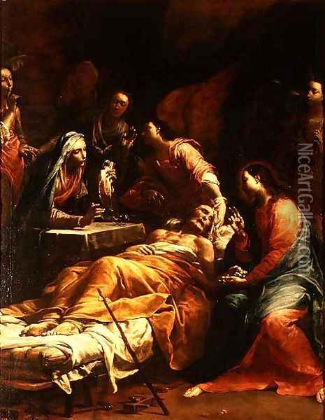 The Death of St. Joseph, c.1712 Oil Painting - Giuseppe Maria Crespi