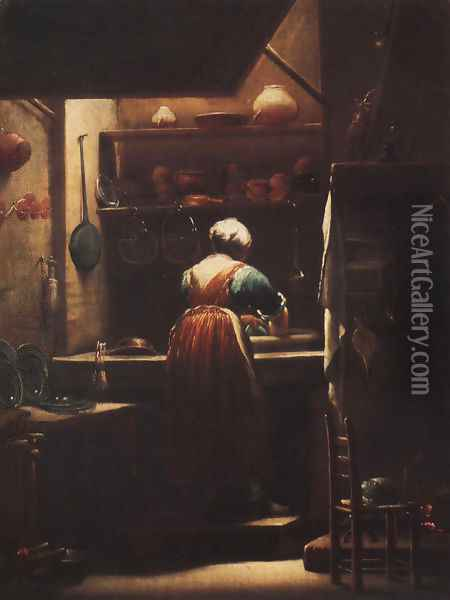 Scullery Maid Oil Painting - Giuseppe Maria Crespi