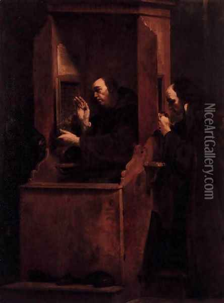 Confession 1712 Oil Painting - Giuseppe Maria Crespi