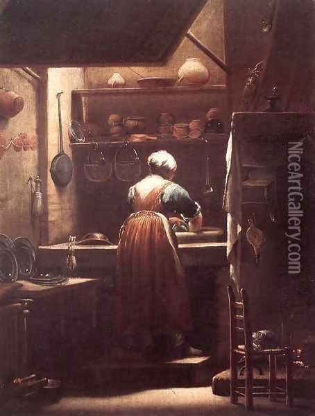 The Scullery Maid 1710-15 Oil Painting - Giuseppe Maria Crespi