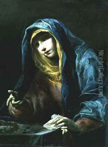 The Virgin with the Instruments of the Passion c.1730 Oil Painting - Giuseppe Maria Crespi