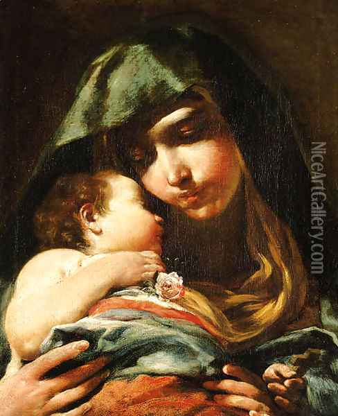 The Madonna and Child 2 Oil Painting - Giuseppe Maria Crespi
