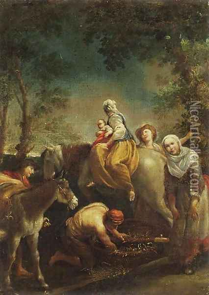 The Flight into Egypt Oil Painting - Giuseppe Maria Crespi