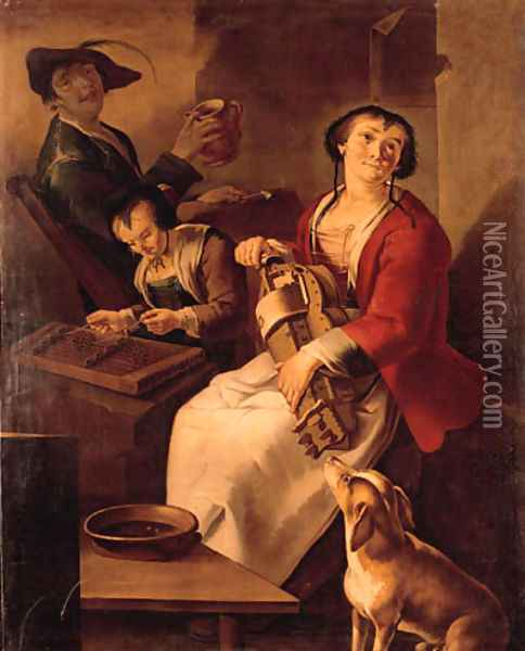 A peasant woman playing the hurdy-gurdy, a girl playing the dulcimer and drinking, a youth in a farmhouse Oil Painting - Giacomo Francesco Cipper