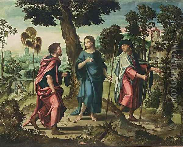 Christ and His Disciples on Their Way to Emmaus Oil Painting - Pieter Coecke Van Aelst