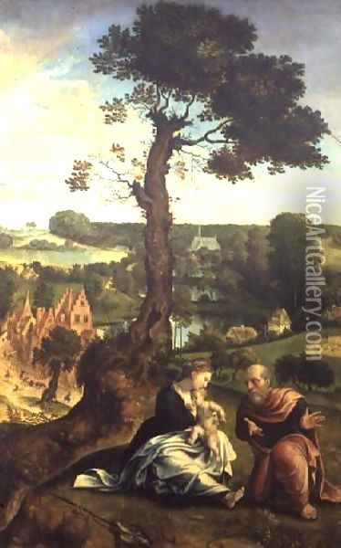The Rest on the Flight into Egypt, c.1534-40 Oil Painting - Pieter Coecke Van Aelst
