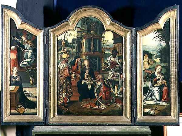 Triptych: The Adoration of the Magi (central panel), The Annunciation (LH panel),The Rest on the Flight into Egypt (RH panel) Oil Painting - Pieter Coecke Van Aelst