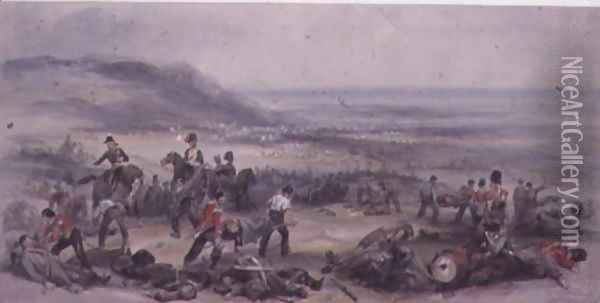 Removing the Dead and Wounded after the Battle of the Alma during the Crimean War, 20 September, 1854 Oil Painting - George Bryant Campion