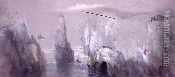View of Flamborough Head, showing a Group of Men gathering Gulls' Eggs Oil Painting - George Bryant Campion