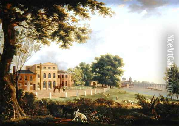 View of Chelsea Farm with the Thames and Battersea Bridge, 1790 Oil Painting - Hendrik Frans de Cort