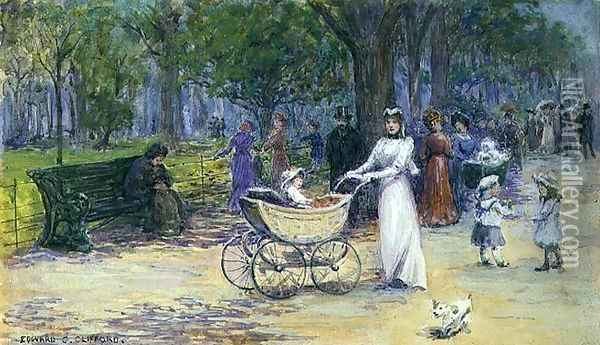 Promenading Oil Painting - Edward Clifford