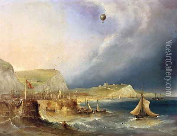 The First Balloon Crossing, 7th January 1785 Oil Painting - E.W. Cocks