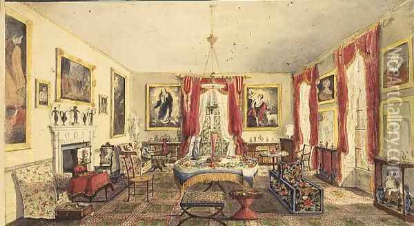 The Drawing Room at Aynhoe, 1845 Oil Painting - Lili Cartwright