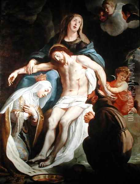 Pieta with St. Francis of Assisi and St. Elizabeth of Hungary Oil Painting - Gaspard de Crayer