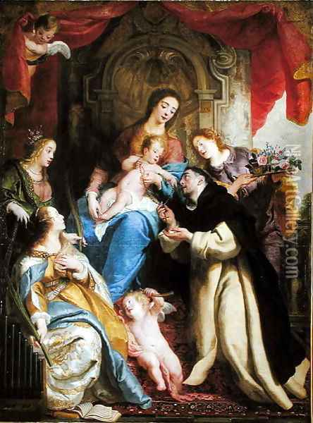 The Virgin Offering the Rosary to St. Dominic, 1641 Oil Painting - Gaspard de Crayer
