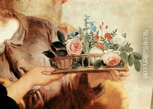 Our Lady of the Rosary, detail of the basket of flowers Oil Painting - Gaspard de Crayer