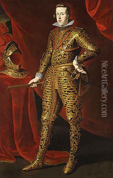 Philip IV in Parade Armor possibly late 1620s Oil Painting - Gaspard de Crayer
