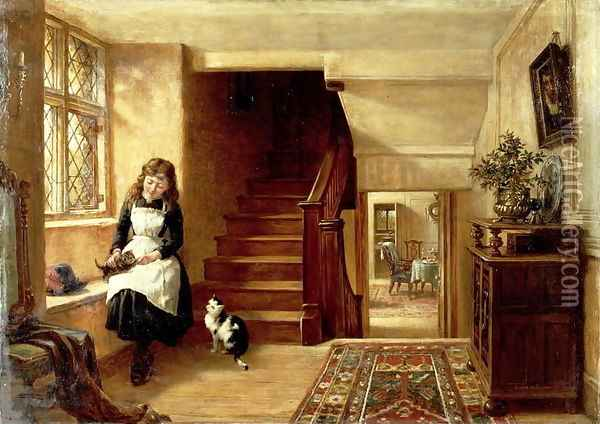 An Interior with a Girl Playing with Cats Oil Painting - Robert Collinson