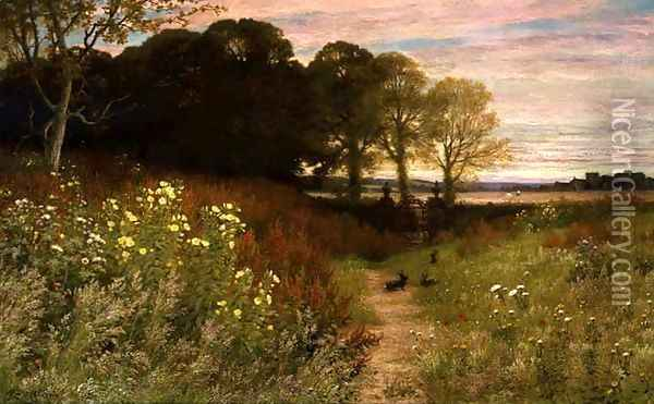 Landscape with Wild Flowers and Rabbits Oil Painting - Robert Collinson