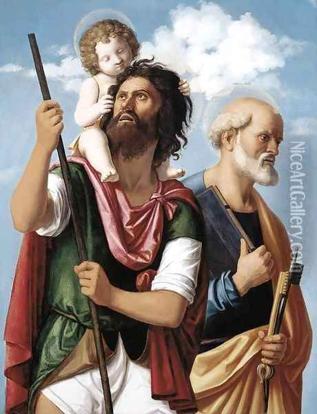 St Christopher with the Infant Christ and St Peter 1504-06 Oil Painting - Giovanni Battista Cima da Conegliano