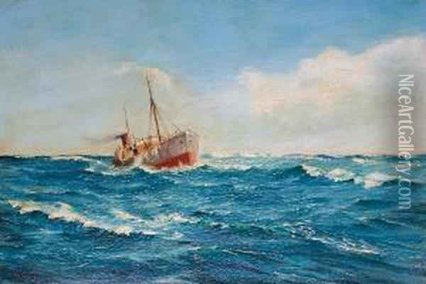 Trawler At Sea In A Swell Oil Painting - Edwin Harris