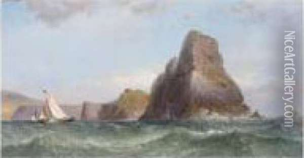 Fishing Off Worm's Head Oil Painting - James Harris of Swansea