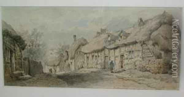 Village Street Scene With Thatched Cottages And Figures Conversing Oil Painting - William E. Harris