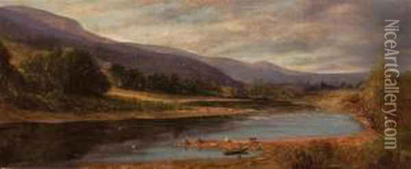 (2) Rowboat On A River Cattle By A River Oil Painting - William Howard Hart