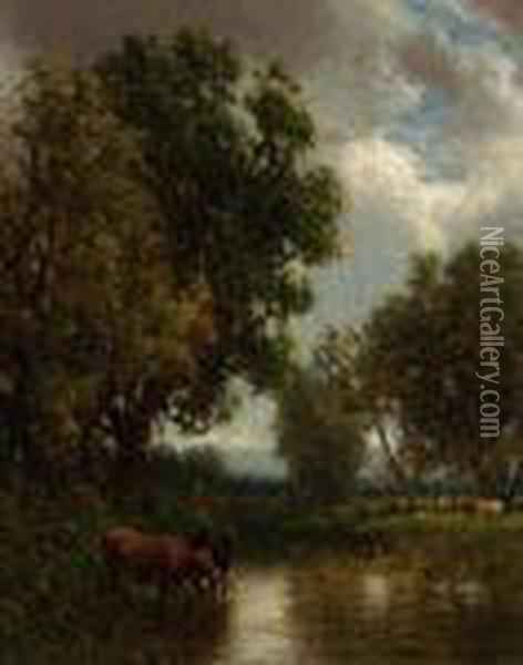 Cattle By The Stream Oil Painting - William Howard Hart