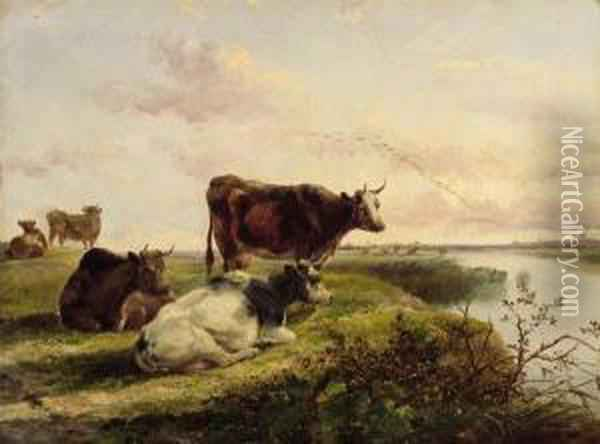 Cattle On A Riverbank Oil Painting - William Howard Hart