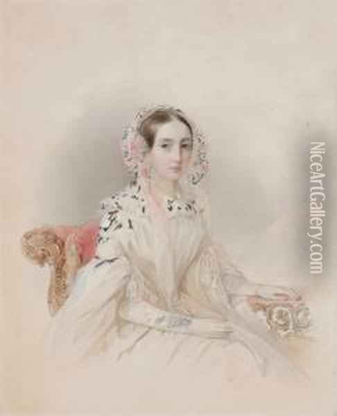Portrait Of Princess Therese D'oldenburg (1815-1871) Oil Painting - Fritz Thaulow