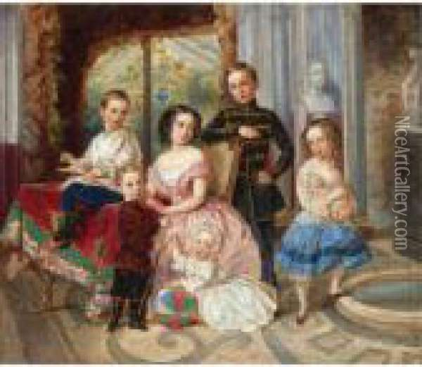 The Children Of The Duke Of Leutchtenberg By A Marble Pool Oil Painting - Fritz Thaulow