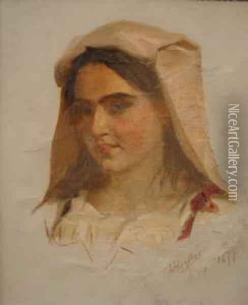 Portrait Of A Girl With Headdress Oil Painting - James Hayllar