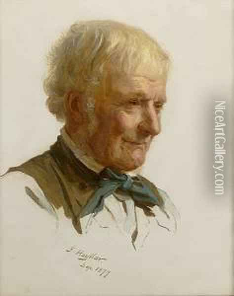 Study Of A Gentleman Wearing A Green Neckerchief Oil Painting - James Hayllar