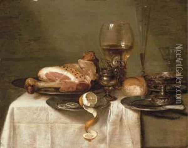 A Ham On A Pewter Plate Oil Painting - Willem Claesz. Heda