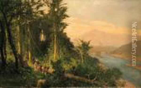 A Rubber Plantation In German New Guinea Oil Painting - Rudolf Hellgrewe