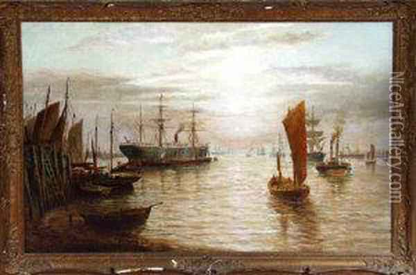 A Sail-assisted Steam Coaster, Fishing Boats And Other Vessels On The Tyne Oil Painting - Bernard Benedict Hemy