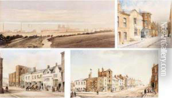 Bootle Church, Liverpool; Shaw's  Brow Looking East, Liverpool; View From The Corner Of Sparling Street  (st Domingo Road) Looking Towards Everton Church, Liverpool; Lord Street  South Side, Liverpool Oil Painting - William Gawin Herdman
